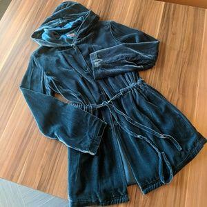 J. Jill Teal Blue Velvet Hooded Jacket